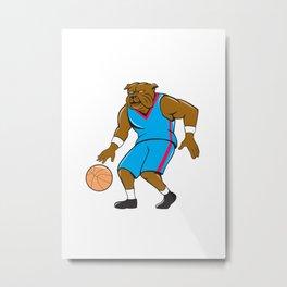 Bulldog Basketball Player Dribble Cartoon Metal Print