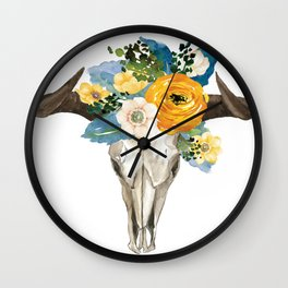 Bohemian bull skull and antlers with flowers Wall Clock