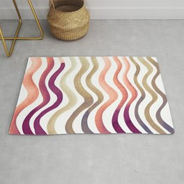 Wavy lines - coral and sand Rug