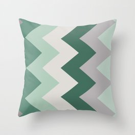 Sideways Chevron (Shades of Green and Grey) Throw Pillow