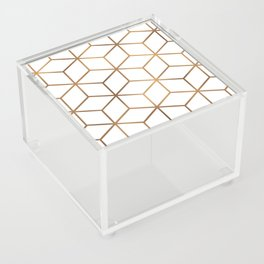 White and Gold - Geometric Cube Design Acrylic Box