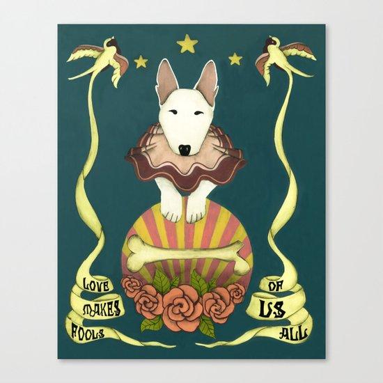 love makes fools of us- bull terrier portrait Canvas Print