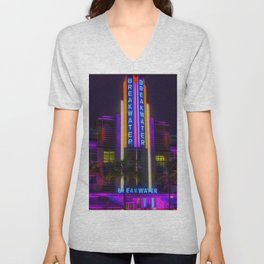 Breakwater Hotel - Art Deco South Beach Miami Portrait Painting Unisex V-Neck