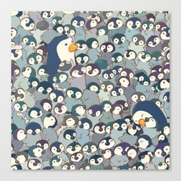 Baby Penguin Pattern Canvas Print