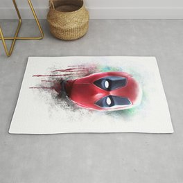 dead pool abstract watercolor portrait painting | Original Fan Art Rug
