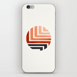 Burnt Sienna Circle Round Framed Mid Century Modern Aztec Geometric Pattern Maze iPhone Skin