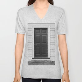 Door with Cobwebs in Black and White Unisex V-Neck