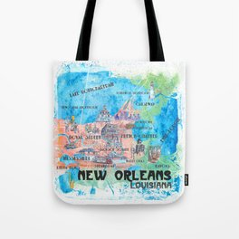New Orleans Louisiana Illustrated Map with Main Roads Landmarks and Highlights Tote Bag