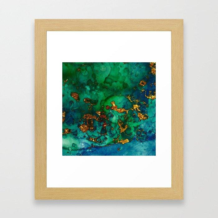Emerald And Blue Glitter Marble Framed Art Print