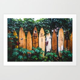 Surfboard Fence Art Print