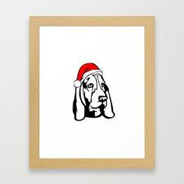Basset Hound Dog with Christmas Santa Hat Framed Art Print