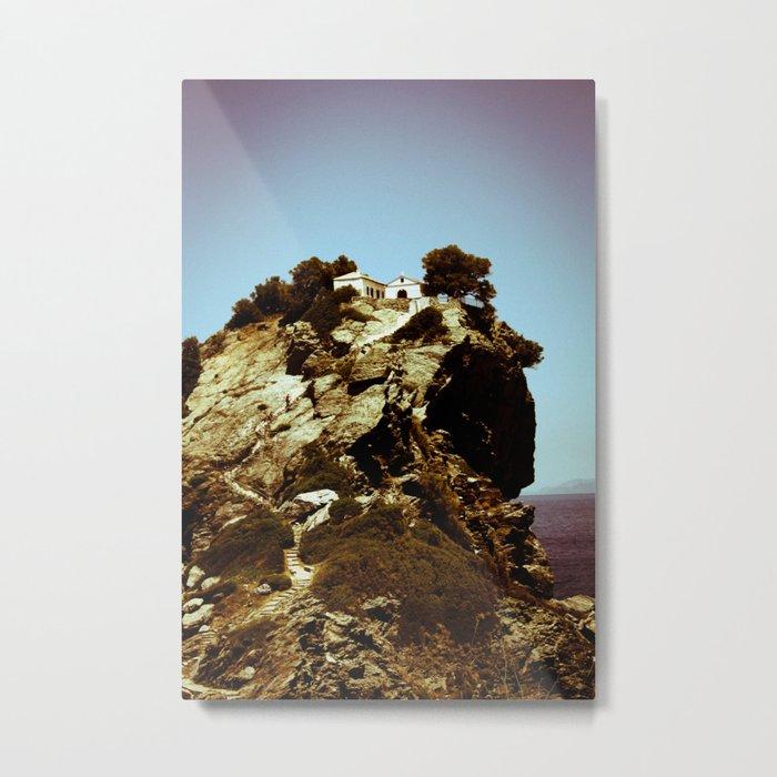 Church on a Hill (Retro) Metal Print