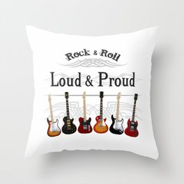 Loud and Proud Guitars Throw Pillow