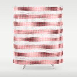 Red Diamonds Gross Stripes Shower Curtain