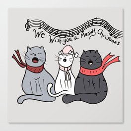 Christmas Singing Cats We Wish You A Meowy Christmas Canvas Print