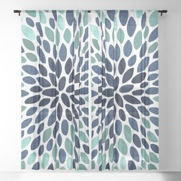 Flower Bloom, Aqua and Navy Sheer Curtain