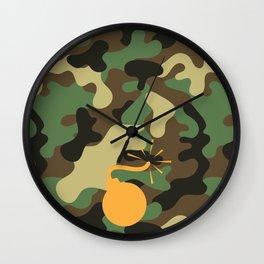 CAMO & ORANGE BOMB DIGGITY Wall Clock