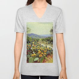Yellow and Red Cactus Blossoms in the Desert Landscape painting by Robert Julian Onderdonk Unisex V-Neck