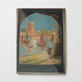 Vintage French Travel Poster: Les Sables d'Olonne (1928) Metal Print