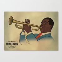 louis armstrong Canvas Prints featuring Louis Armstrong by Borja Espasa
