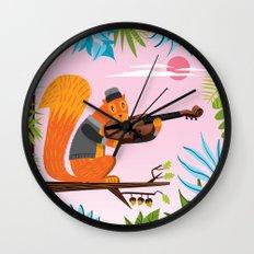 Red Squirrel Serenade Wall Clock