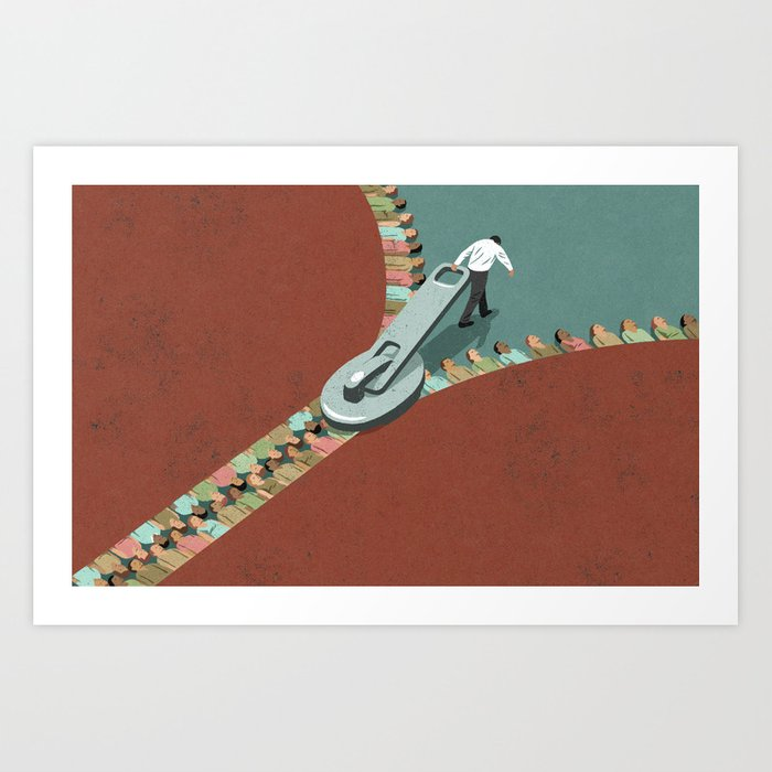 Integration zip, conceptual illustration Art Print