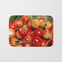 Cherries in a Basket Close Up Bath Mat