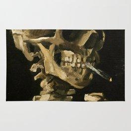 Skull Of A Skeleton With Burning Cigarette Rug