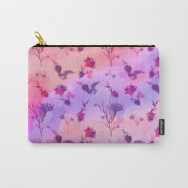 Modern hand painted abstract pink violet watercolor floral Carry-All Pouch