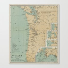 Vintage Washington & Oregon Lighthouse Map (1898) Canvas Print