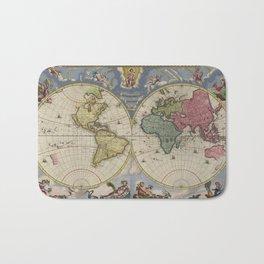 Vintage Map of The World (1665) Bath Mat