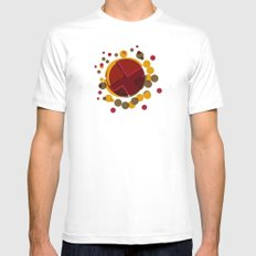 Circular Brown Abstract Dots Texture White Mens Fitted Tee MEDIUM
