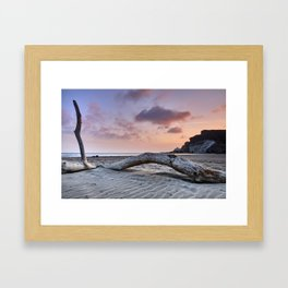 Half Moon Beach. Red sky Framed Art Print