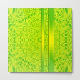 Vibrant green mandala and ribbons Metal Print