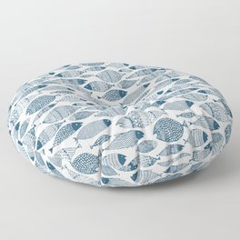 Blue Fish White Floor Pillow