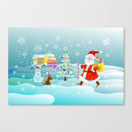 Santa Claus, snowman tree and houses Canvas Print