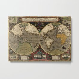 1595 Vera Totius Expeditionis Nauticae - Map of Sir Francis Drake's Circumnavigation of the Globe Metal Print