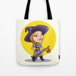 Cute witch with broom halloween cartoon Tote Bag