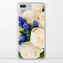 Ecru roses wedding bouquet Clear iPhone Case