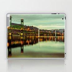 Mountains Forest Water Bridge - Hood River Bridge Washington and Oregon Laptop & iPad Skin