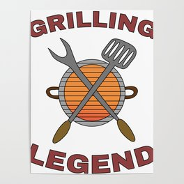 Pitmaster BBQ Barbecue food grill Put my meat in your mouth and swallow design Grilling legend Poster