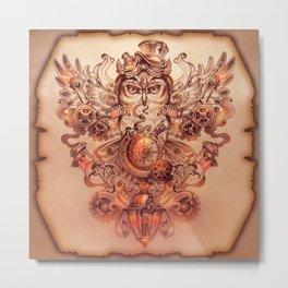 Voyager (Steampunk Owl) Metal Print
