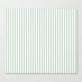 Mattress Ticking Narrow Horizontal Striped Pattern in Moss Green and White Canvas Print