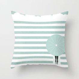 Girl at the beach Throw Pillow