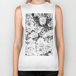 Black gray modern watercolor roses floral pattern Biker Tank