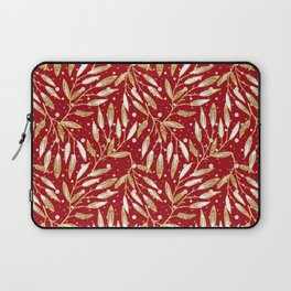 Christmas colorful pattern. Gold sprigs on a red background. Laptop Sleeve