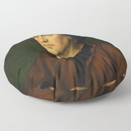 Albrecht Dürer the Elder with a Rosary by Albrecht Dürer Floor Pillow
