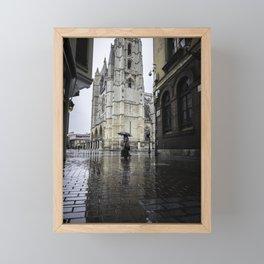 Leon Cathedral in the Rain Framed Mini Art Print