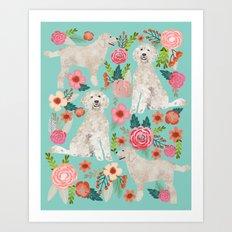 Golden Doodle golden retriever poodle mixed breed custom dog art pet portrait must have dog gifts Art Print