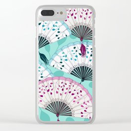 Oriental Hand Fan Pattern Clear iPhone Case